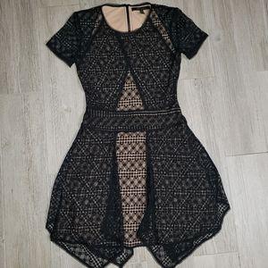 BCBG Maxazria black dress sheer panels